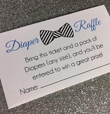 20 Bow Tie Diaper Raffle Tickets - Boy Baby Shower Invitation Insert