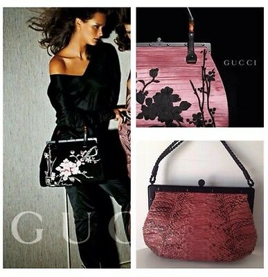 New Vintage Rare Pink Karung Lizard Tom Ford Gucci Purse Handbag Bag Silk Snake