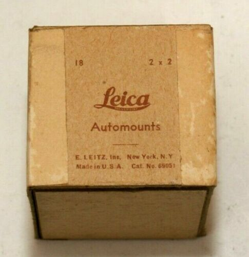 LEICA AUTOMOUNTS 2X2 GLASS SLIDE MOUNTS--BOX OF 18-VINTAGE AND COLLECTIBLE