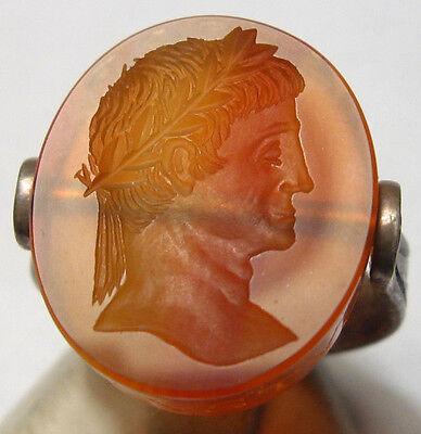Handmade Roman Style Roman Emperor Augustus Agate Intaglio Silver ring on Rummage