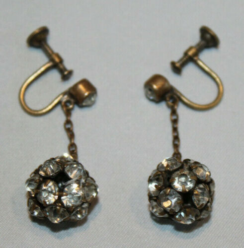 vintage gold tone screw back dangle earrings ball of rhinestones Czechoslovakia