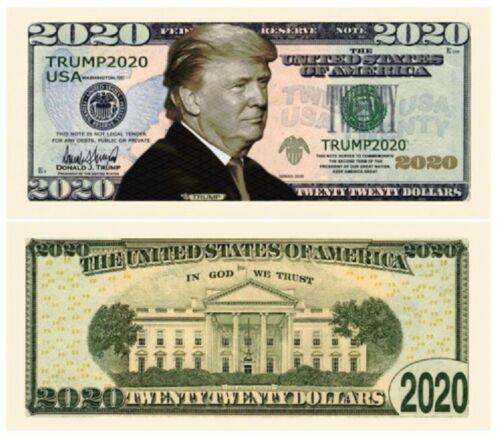 One (1) Donald Trump 2020 Dollar Bill Presidential Novelty Funny Money