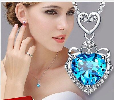 """Sterling Silver Blue Topaz Flower Heart Love Pendant Necklace 18"""" Chain Gift Box"""