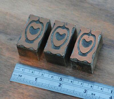 Letterpress Printing Blocks Ornament Art Nouveau Frame Wood Rare Copper Rare Old