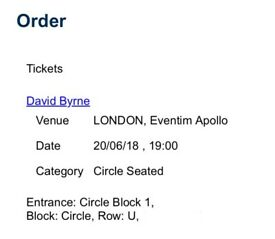 David Byrne tickets 20th June Hammersmith