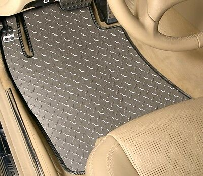 (Diamond Plate - Vinyl Floor Mats - Front Mats - CUSTOM - Pontiac)