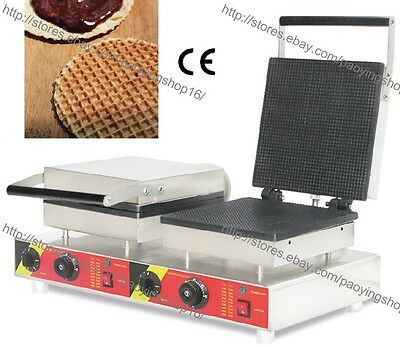 Dual Nonstick Electric Dutch Stroopwafel Syrup Waffle Baker Machine Maker Iron