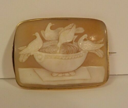 """19th C. Shell Cameo Brooch """"Capitoline Doves"""", Gold Plated Mounting, Tiffany Box"""