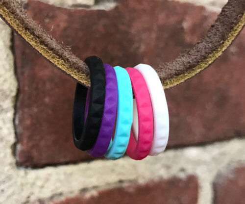 Stackable Silicone Wedding Ring Women Rubber Engagement Band Flexible Diamond