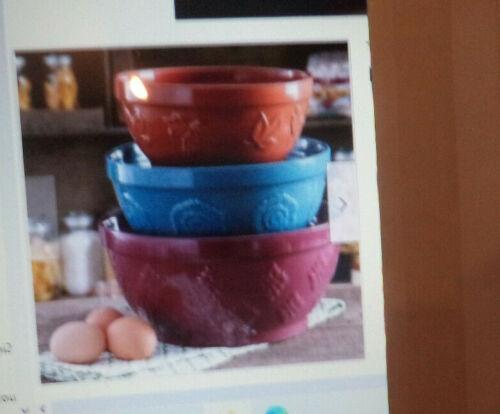 Pioneer Woman 3 Pc. Set Of Corncopia Embossed Mixing Bowls New