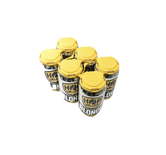 PCR 6-Pack Yellow Recycled HDPE Plastic Can Carrier 270 Count Beer Canning