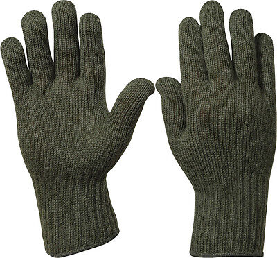 Olive Drab Military Flexor D-3A Wool Glove Liners USA Made Olive Drab Wool Glove