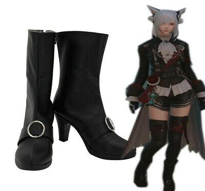 Final Fantasy 14 XIV BLACK MAGE Cosplay Kostüme Costume Schuhe Shoes Schwarz Neu (Black Mage Final Fantasy Kostüm)