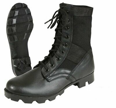 Black Leather Military Jungle Boots with Steel Toe Tactical Combat Army -