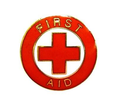 first aid red cross lapel collar pin device gold trim metal clutch back 69g2 new