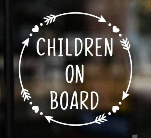 Children on Board Car Window Glass Sticker Vinyl Decal Child Van Sign Hearts