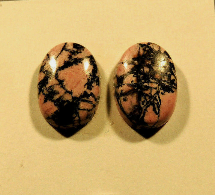 Rhodonite Cabochons 18x13mm with 5mm dome set of 2 (3572)