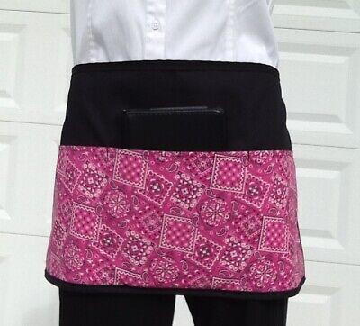 Cute Pink Bandanna Black Server Waitress Waist Half Apron 3 Pocket Restaurant