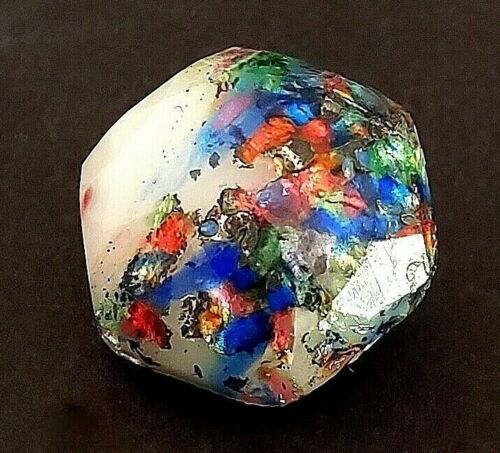 Extra Pretty Leo Popper Glass Button…Hexagon Shape w Multi-Color Glass / Foils