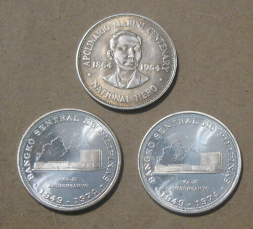 Philippines - (3) Large Silver Coins (1964 & 1974)