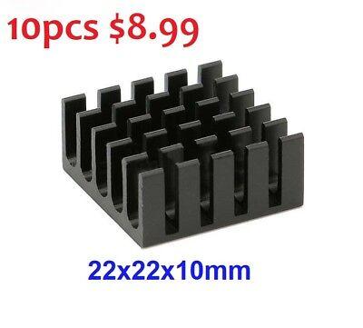 10 X Black Aluminum Radiator Led Heatsink Heat Sink 22x22x10mm