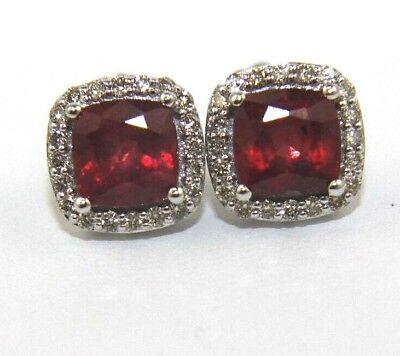 Cushion Cut Ruby & Diamond Halo Square Stud Earrings 14K White Gold 3.14Ct