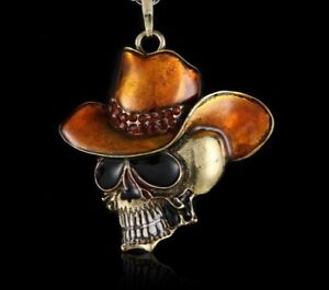 Cowboy Skull Pendant + Anodized Gold Chain
