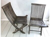 VINTAGE SOLID TEAK WOOD FOLDING CHAIRS