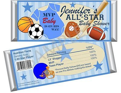 Sports Baby Candy Bar Wrappers - First Birthday or Baby Shower Favors Set of 12 ](Sports Baby Shower)