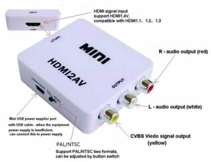 Xbox PS4 - HDMI-F to 3 RCA-F Composite compatible