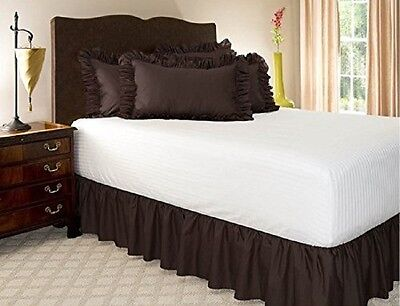 1 PIECE MICROFIBER SOLID BED RUFFLE SKIRT 14 INCH DROP SIZE TWIN BROWN COFFEE