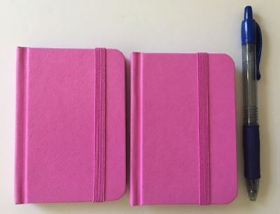 Hardcover Pink Notebook Journal 96 Pages Small 4 X 3 Ruled Pocket Size 2-pack