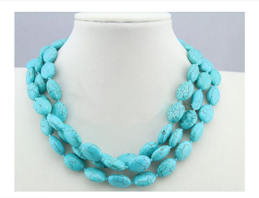 Charming 13x18mm Turkey Turquoise Jewelery Necklace 50/'/' AAA