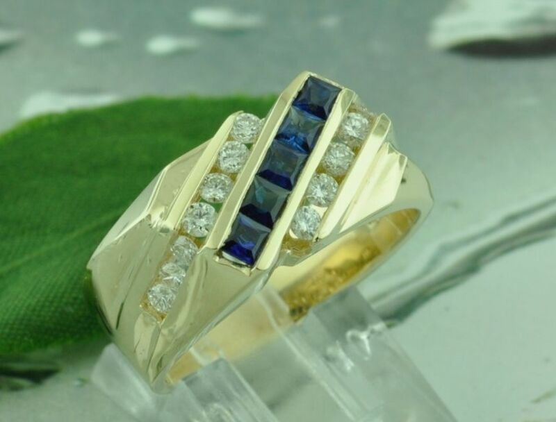 1.40 Ct 14k Solid Yellow Gold Mens Natural Diamond & Sapphire Ring Channel Set