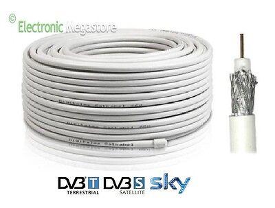 MATASSA CAVO COASSIALE PER ANTENNA TERRESTRE SATELLITARE SAT DVB-T 5mm 100 METRI