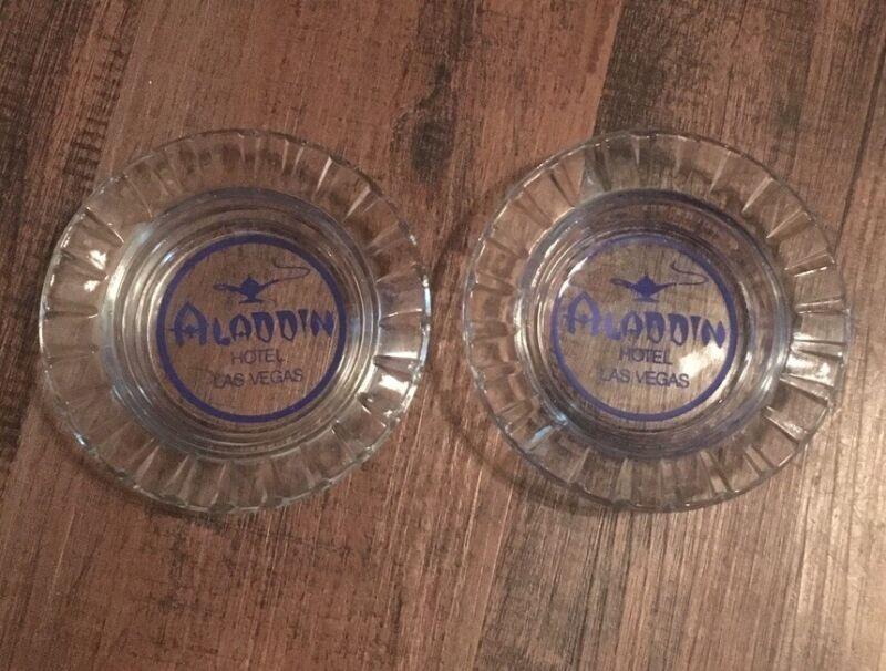 LOT OF 2 VINTAGE ALADDIN HOTEL LAS VEGAS ASHTRAY CLEAR GLASS