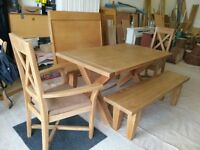 Oak dining set, including table, 2 x benches, 2 x chairs newly upholstered