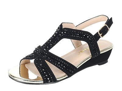 NEW Youth Kids Girls Glitter Rhinestone Low Heel Party Pageant Sandal Dress Shoe - Glitter Shoes Girls