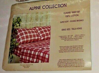 Alpine Collection KING Flannel Sheet Set BED SHEETS 4 Piece Set 100% Cotton  New Alpine Sheet Set