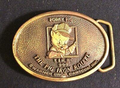 Vintage Solid Brass 2978 Belt Buckle Porky Pig