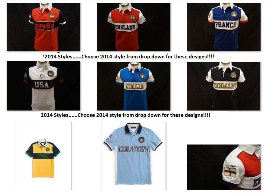 93b91819 Nwt Men's Tommy Hilfiger World Country Custom Fit Polo Shirt Usa Espana  England