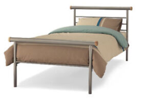 Sturdy single metal bed frame with clip on side table