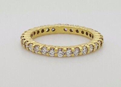 18K YELLOW GOLD ALL AROUND DIAMOND ETERNITY WEDDING ANNIVERSARY BAND RING VS - G