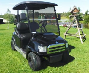 Black golf cart, electric custom golf cart