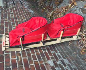 Twin Toddler Wooden Sled