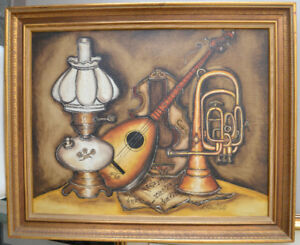 VINTAGE ORIGINAL OIL ON CANVAS STILL LIFE PAINTING 33X27 INCHES