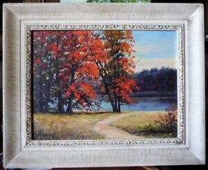 Fall Colors, Fiery Afternoon, River's Path by D. M. Swan 1960's