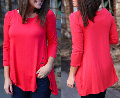 Women's Loose Long Sleeve Cotton Casual Blouse Shirt Tops Fashion Blouse T-Shirt