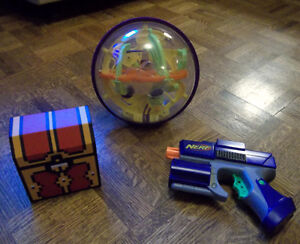 8-Bit Treasure Chest, Perplexus 3D Globe and Nerf Blaster