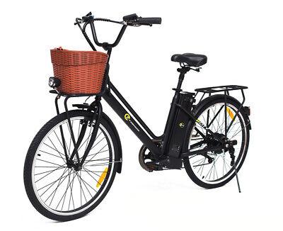 Electric Bike Cycle City Ebike 250W Motor Bicycle Black Steel ETrends